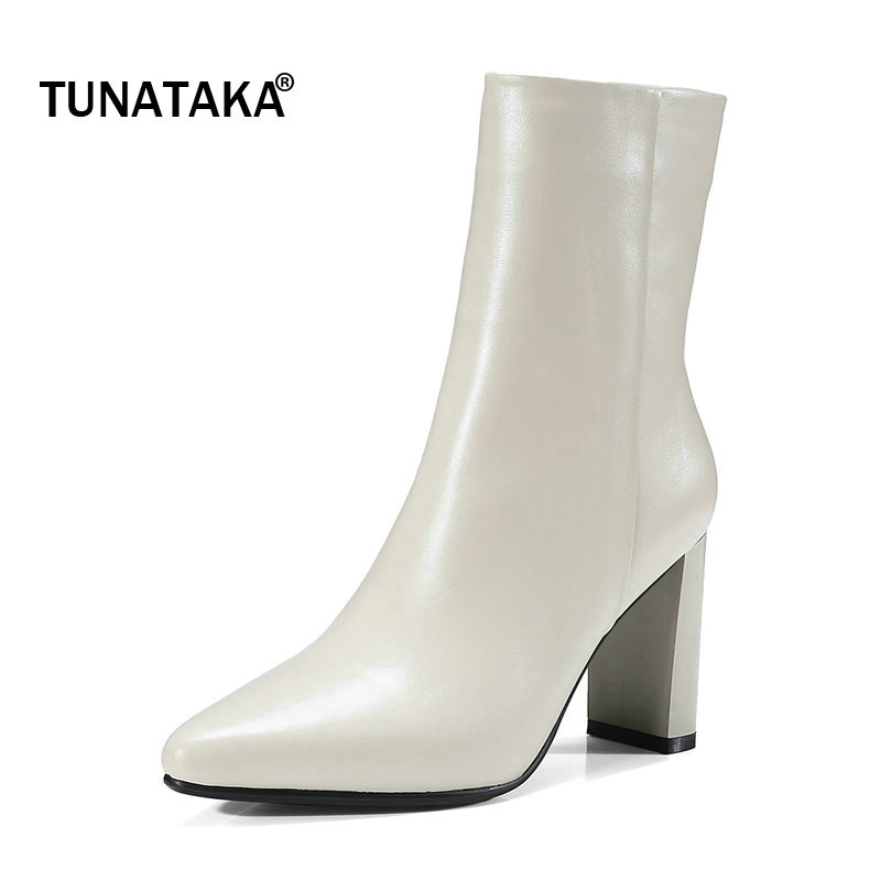 Woman Genuine Leather Pointed Toe Square High Heel Mid Calf Boots Fashion Side Zipper Dress Boots Black Beige double buckle cross straps mid calf boots