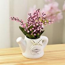 Artificial flower plant flowering shoots silk cloth for home Garden farmhouse decor fake flower+ceramic small pot vase bonsai(China)