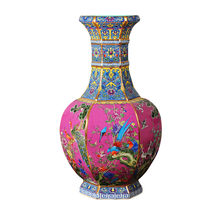 Qian Long Antique china porcelain Chinese Handmade Sculpture Pink Gold Decoration Vase For Decent Gifts(China)
