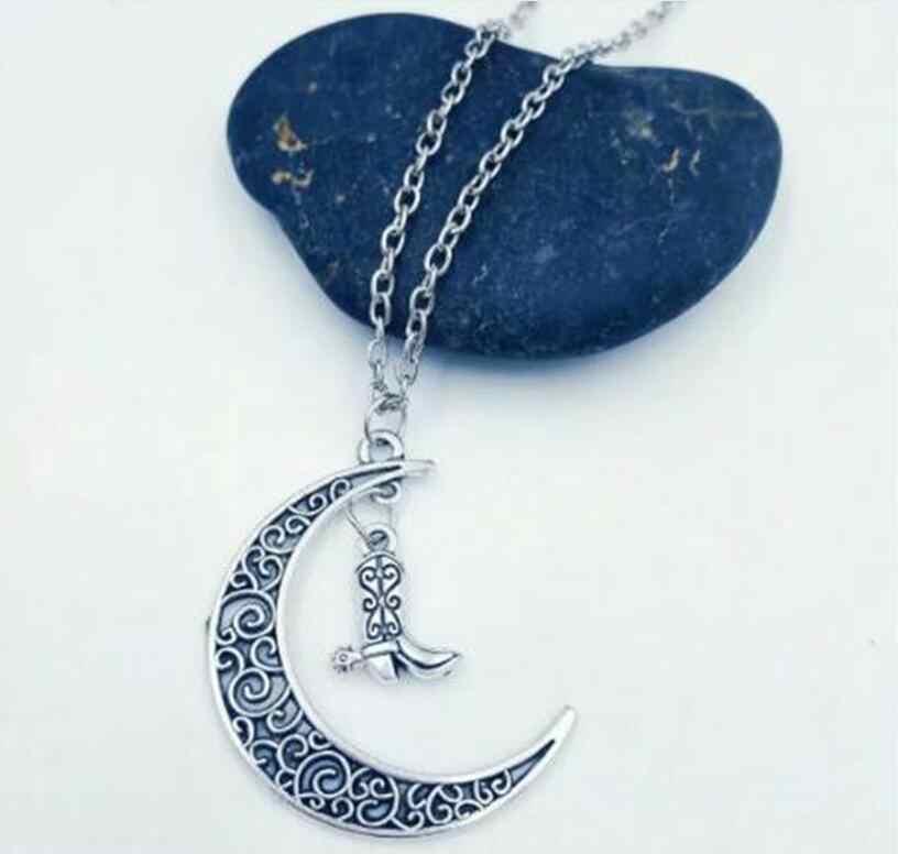 Crescent Moon / Cowboy Boots / Cowboy Hat / Roller Skates Pendants Necklaces For Women Men Charm Necklaces Gift Jewelry New