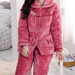 Высокое качество осень и зима для женщин пижамы наборы для ухода за кожей толстые теплые фланелевые с длинным рукавом Пижама Femme брюки