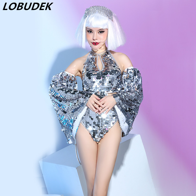 Sparkly Big Sequins Bodysuit Sexy Female singer backless Stage outfit Bar Nightclub DJ Singer Dancer show performance costume