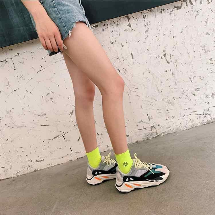 Moda neón color caramelo verde caliente Rosa calle Cool Hip Hop fluorescente amarillo naranja Unisex mujeres hombres pareja divertidos calcetines felices