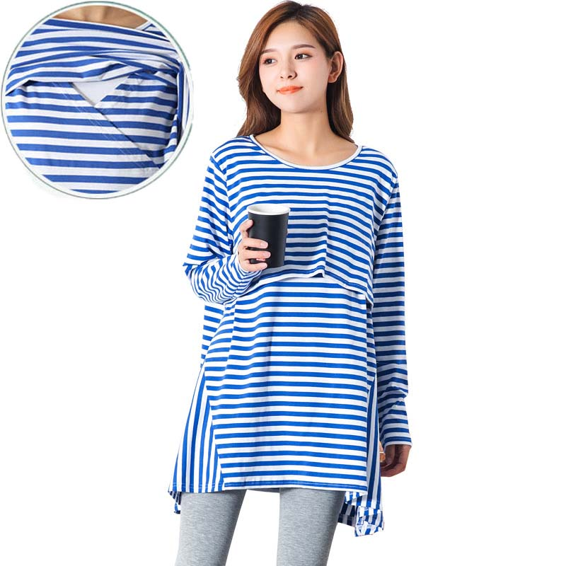 Maternity Clothes Cotton Striped Nursing Clothes T-shirt Breastfeeding Nursing Clothes Full Breathable Maternity Nursing Tops