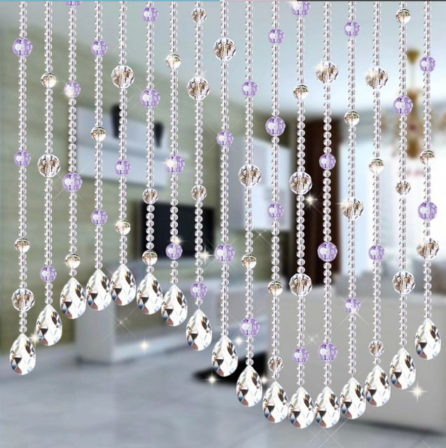 Wedding Party Home Decorations Arylic Crystal Beads Rope Decor Curtain Hanging Screen On Wall Door Inside