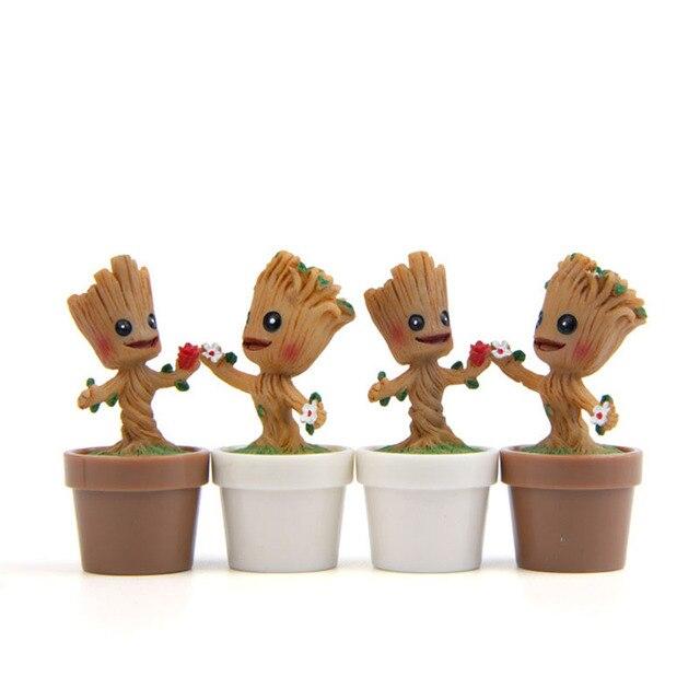 مصغرة حديقة زهور Groot اللعب الرقم العمل البوب حراس غالاكسي الأواني الشكل اللعب المنزل طاولة مكتبية عرض ديكور