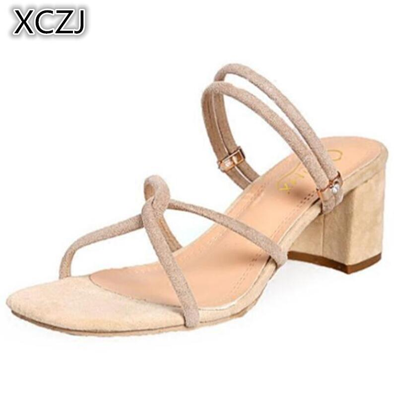 XCZJ 2018 new sandals female summer Korean thick with Rome shoes wild open toe high-heeled word slippers female