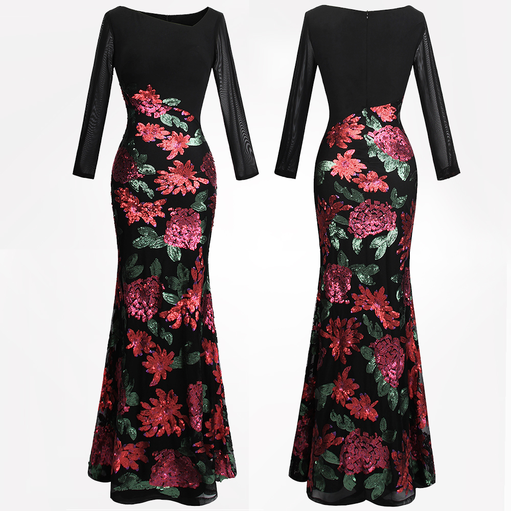 Angel fashions Women s Long Sleeve Mother of Bride Dress Flowers Sequin Mermaid Maxi Party Gown
