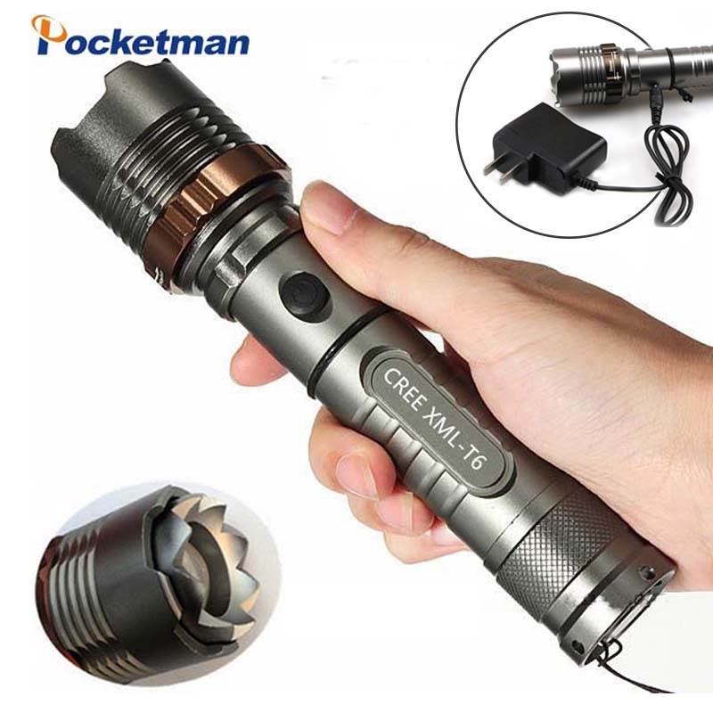 8000lm XM-L T6 LED Flashlight Torch Rechargeable Lantern Hunting FlashLight  For 18650/AAA Battery Direct Charge Z90