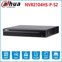 Dahua English Original NVR2104HS P S2 4 Channel POE NVR Compact 1U 4PoE Network Video Recorder Full HD 6MP NVR