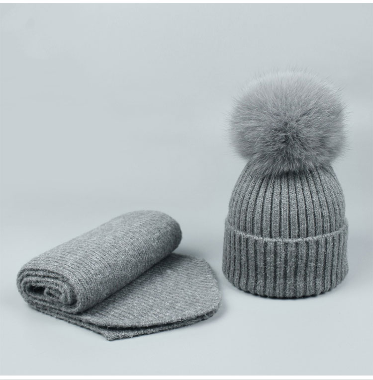 Autumn Winter Women Men Fur Pompom Beanie Hat and Scarf Set Girl Baby Warm  Wool Knitting Hats Scarves Solid Black Pink Navy Hat 62a1eed70