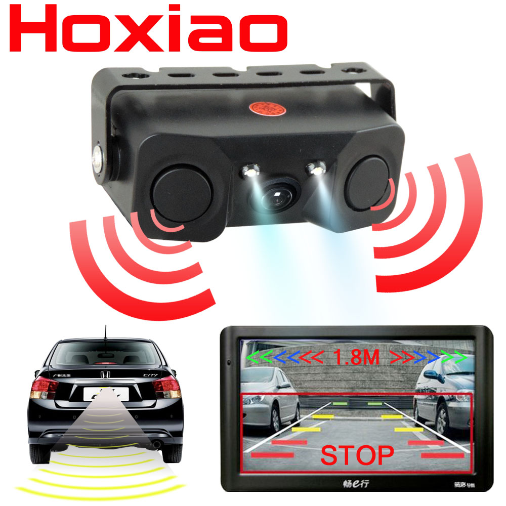 Car Rear View Camera Night Vision LED Light High Definition Rearview Vehicle Camera Add Reversing Radar Sensor Detector Camera