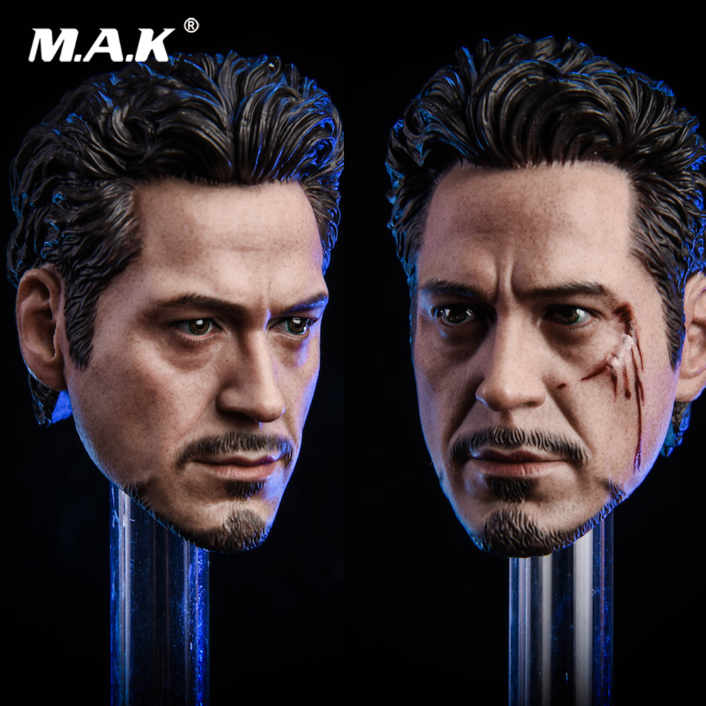 1/6 Scale New MK5 Tony 2.0 Head Sculpt Carved Model Normal/Damaged Version for 12 inches Male Action figure Body Accessory цена