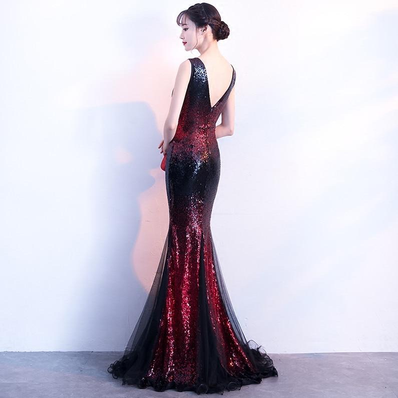 Robes De soirée sirène longues 2019 paillettes Robe De soirée Sexy col en v robes De bal Elie Saab robes Abiye - 2