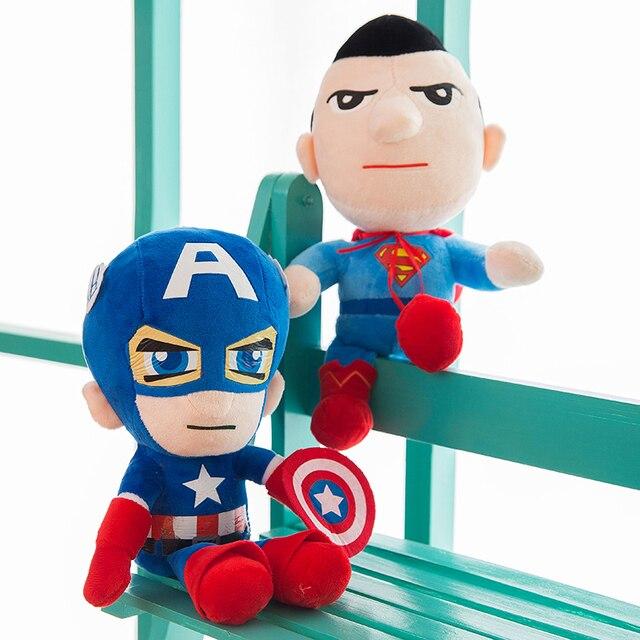 1 pcs Liga Da Justiça Batman Capitão América Superman Soiderman de Super-heróis de Brinquedo de Pelúcia Boneca de Pelúcia Para Crianças dos miúdos Meninas presentes