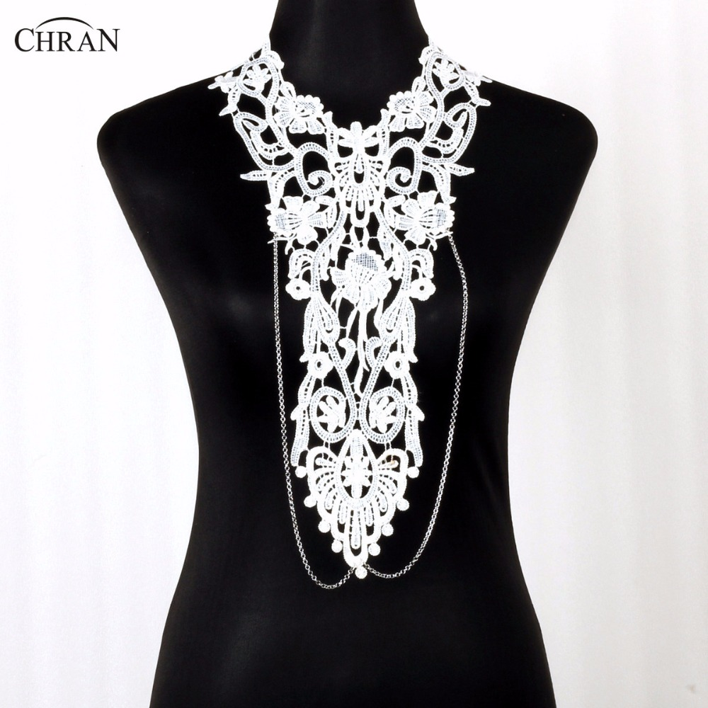 Chran Steampunk Bold Lace Black Bib Detachable Collar Necklace Sexy Beach Chain Shoulder Necklace Body Tattoo Jewelry CRBJ703