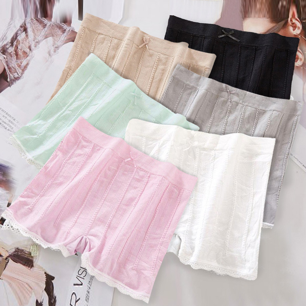 Women Fashion Pants Casual Lace Solid Stretchy Underwear Shorts Seamless Safety Black Pink