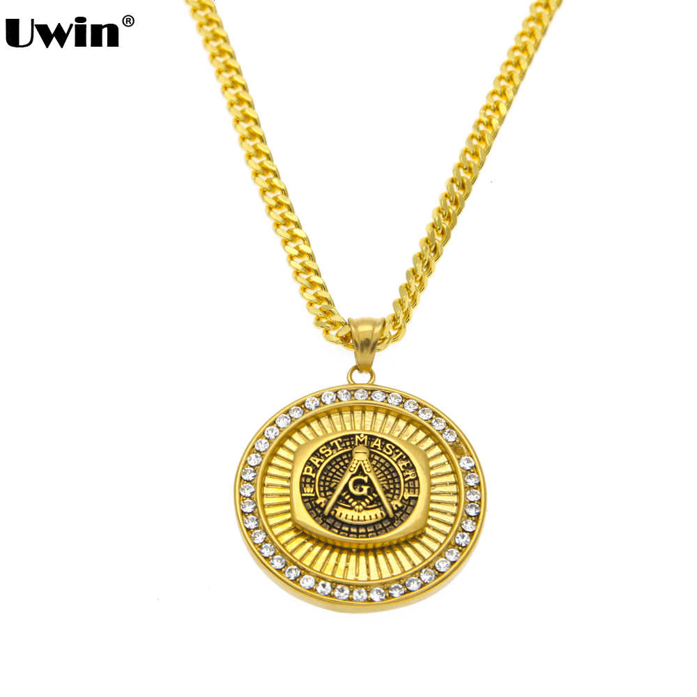 Women Men Iced out Bling Freemason Masonic Compass G Pendants Necklaces Gold Color Freemasonry Chains Hip Hop Jewelry Gifts