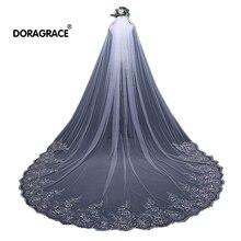Doragrace Gorgeous 3 Meter Cathedral Wedding Veils Long Lace Edge Sequins Bridal Veil with Comb