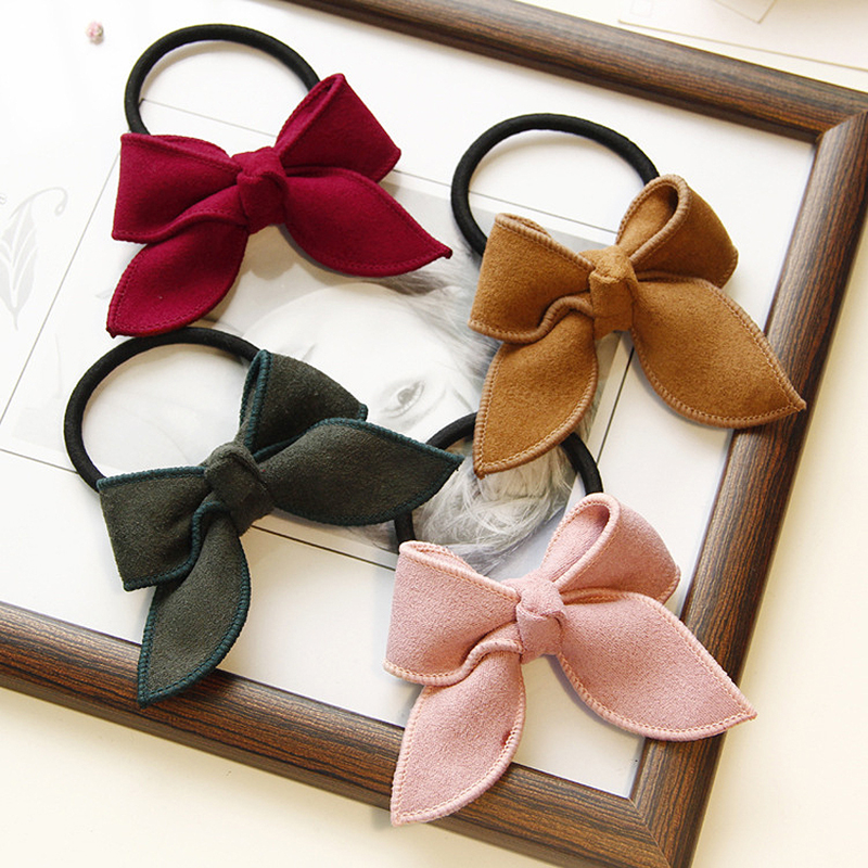 Sale Bowknot Rubber Hair Bands Ponytail Holder Bows For Girls Solid Knot Hair Rope Baby Hairtie Handmade   Headwear