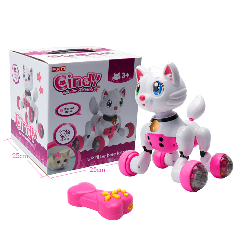 RC Robot Cat Remote Control Pet Children Toys Baby Playmate Electronic Pet Electric Cat Intelligent Pets Birthday Gift MG013