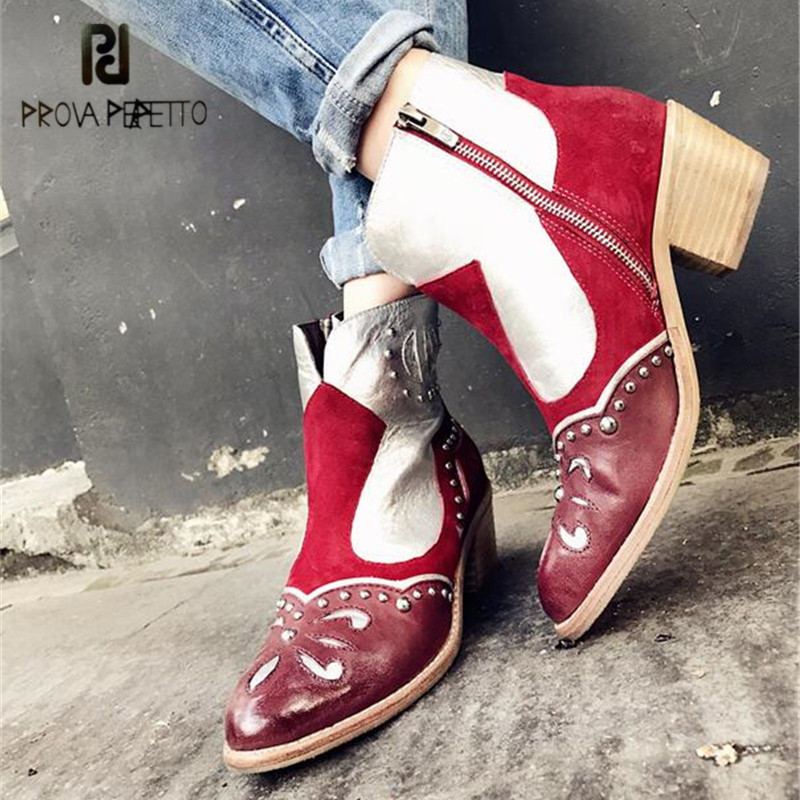 Prova Perfetto Patchwork Ankle Boots for Women Pointed Toe 5CM Heel Short Booties Genuine Leather Ethnic Handmade Botas Mujer women s low heel pointed toe ankle boots brand designer sweet bowtie patchwork short booties genuine leather shoes for women hot