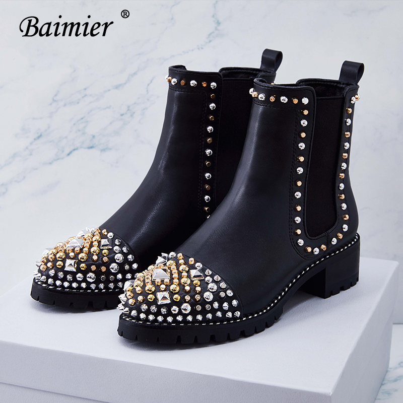 97fced800dd0f Baimier 2018 Luxury Gold Silver Rivet Women Boots Genuine Leather Ankle  Boots For Women Brand Design Slip On Women Chelsea Boots-in Ankle Boots  from Shoes ...
