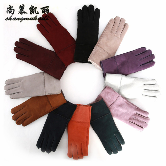 443e73633cf9c Real Sheepskin Gloves women Genuine Leather Gloves black 2017 solid Sheep  Fur gloves ladies warm women gloves winter Russian