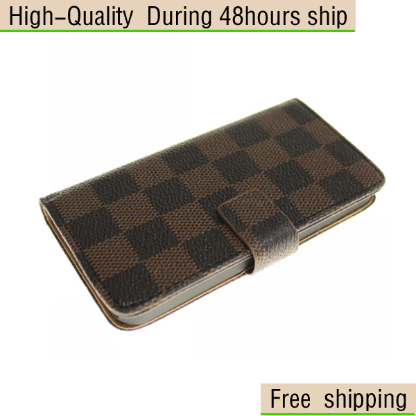 New Two tone Lattice Style Wallet Leather Flip Pouch Case Cover For iphone 5 5G 5th Free Shipping UPS DHLEMS HKPAM CPAM