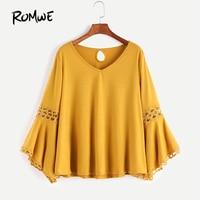 ROMWE Crochet Yellow Boho Tops V Neck T Shirt 2017 Women Vintage Keyhole Back Tops Fall