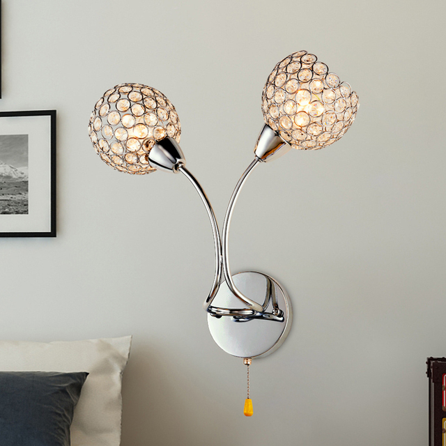 2016 k9 crystal fashion decorative wall sconce ikea dimming led lighting lamps living room bedroom hall