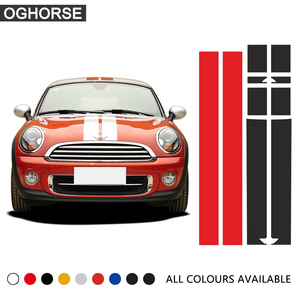 Car Hood Bonnet Roof Rear Stripes Sticker Body Decal for Mini Cooper Coupe r56 r57 r58 r59 John Cooper Works JCW Roadster Cabrio
