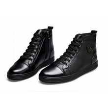 Korean classic men boots genuine leather black luxury new fashion formal casual ankle boots men shoes lace-up zip high top shoes