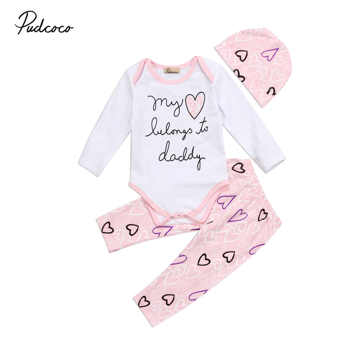 2018 Brand New 0-24M Newborn Infant Baby Girls Clothes 3PCS Letter Heart Long Sleeve White Romper Top+Pink Pants+Hats
