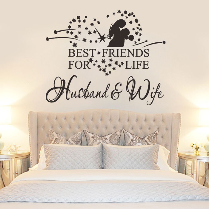 Wall Sticker stickers in living room bedroom New Husband And Wife Vinyl Decal Bedroom Wall Art Decor Sticker drop shipping July1