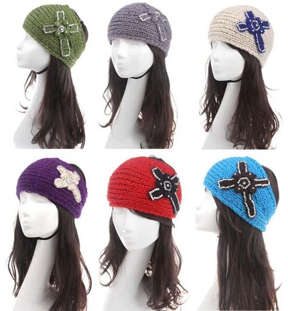 2014 nueva Cruz rhinestone mujeres punto headwrap venda del ...
