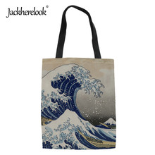 Jackherelook 2019 Women Shopper Bags Fashion Painting Printing Large Female Storage Messenger Bags Woman Shopping Canvas Eco Bag