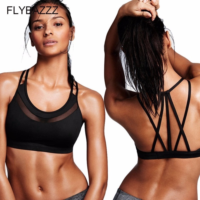 Women's Summer Sexy Back Soft Yoga Bra Sports Top Gym Women Fitness Bras Front Mesh Hollow Out Bras Push Up Running Underwear