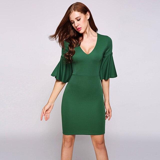 862a82875e83 Summer Women Dress Half Sleeve Casual Office Party Night Dress Half Bell  Sleeve Pencil Green Going Out Bodycon Dress Vestidos