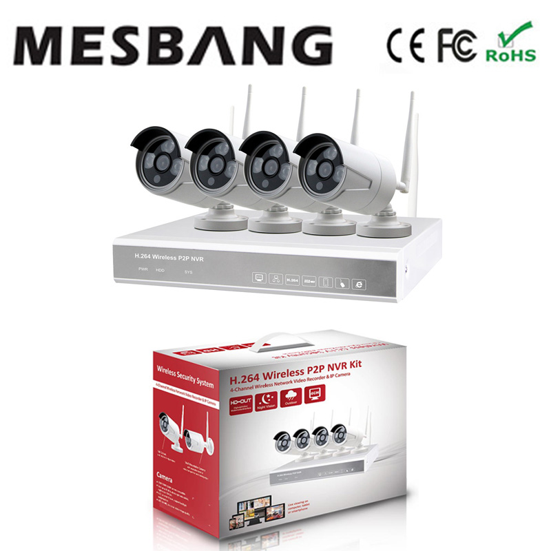 Mesbang 720P 4 channel  wireless wifi  cctv IP camera nvr  kits 4ch free shipping mesbang 720p 4ch wireless ip camera nvr kit one key to set up easy installation free shipping fast