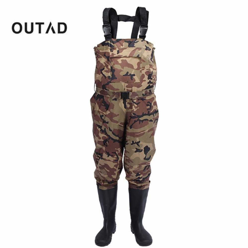 Camouflage thicker waterproof fishing boots pants for Fishing waders with boots