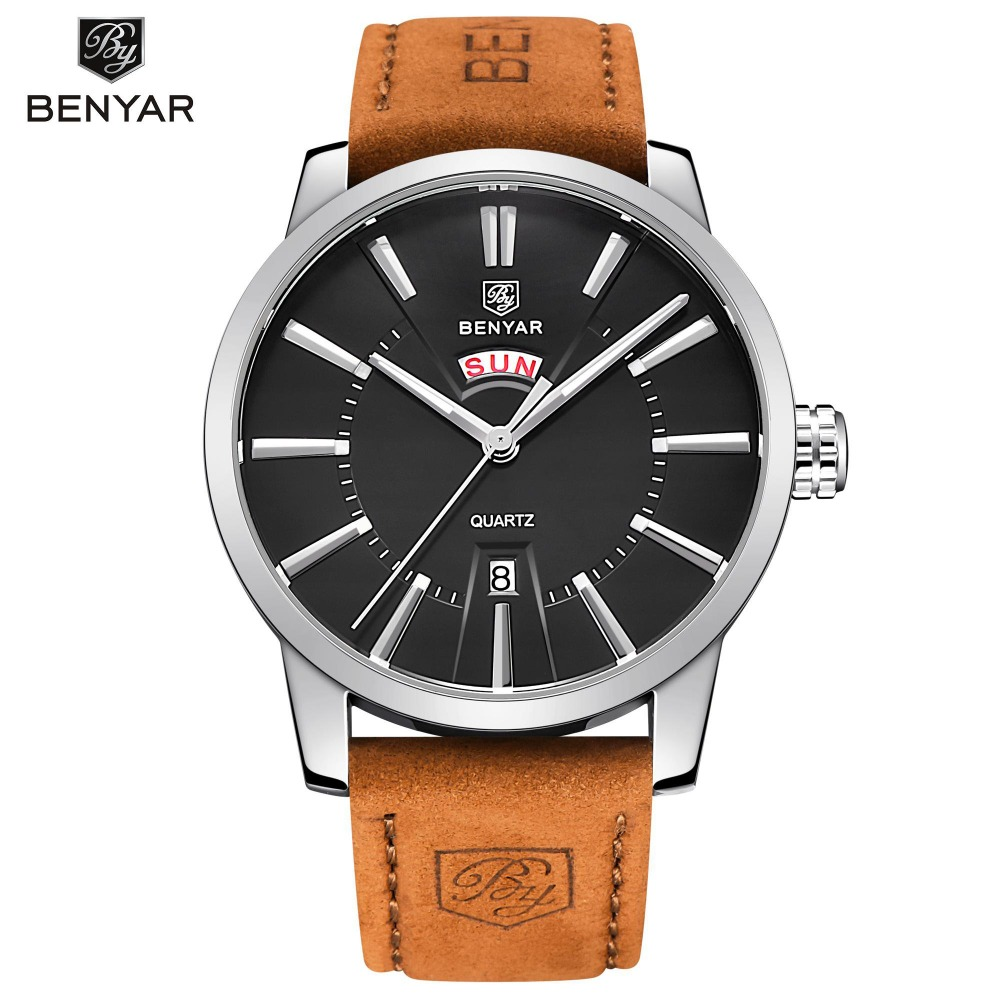 BENYAR Leather Watch Men Sport Mens Watches Top Brand Luxury Military Quartz Watch Auto Date Chronograph Clock Relogio BY-5101M skone chronograph 6 hands 24 hours function men sport watch silicone luxury watch men top brand military watch auto date relogio