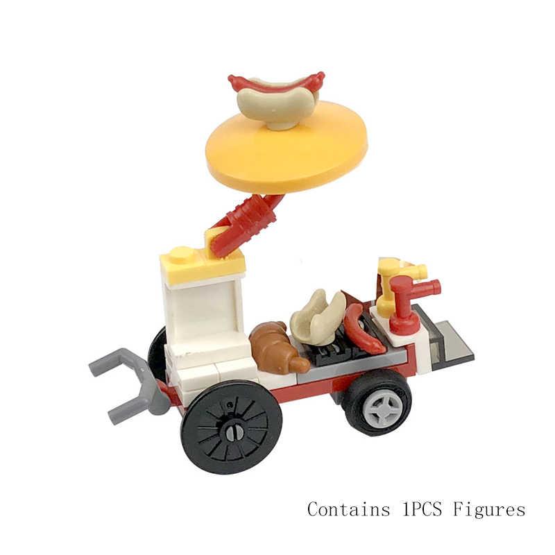 ロック市 moc ソファベッドコンピュータ机と椅子カウンターランプごみトラック交通標識アイスクリーム車の diy セット子供おもちゃ duploed