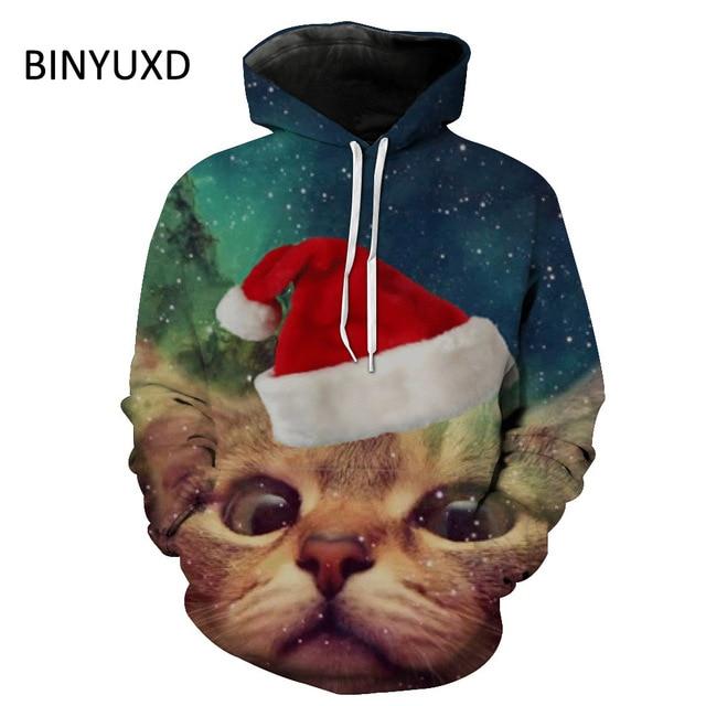 bf84a9c70e2 BINYUXD Merk 3D Hoodies Sweatshirts Mannen/Vrouwen Printing Leuke Kerst Kat  Losse Trui Jas Big