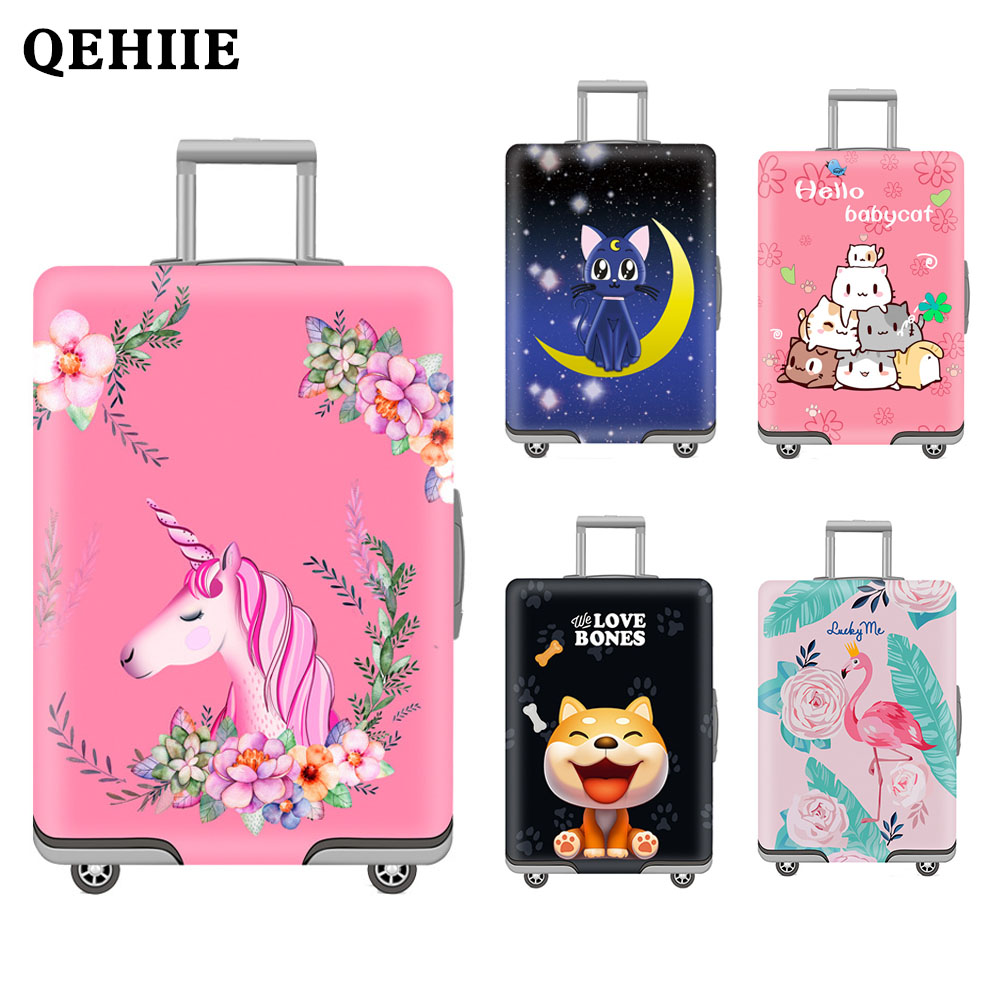 Luggage cover Elastic travel trolley suitcase protective Baggage cover Cartoon suitcase cover Child Cartoon Travel Accessories travel accessories fashion striped suitcase protection cover 18 32 inch trolley dust cover suitcase protective cover