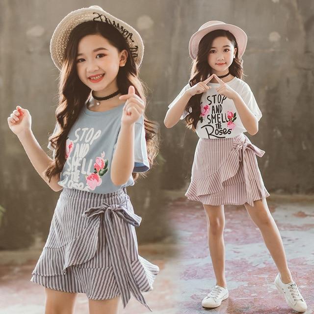 Teenage Girls Clothing Sets 2019 Summer Cotton Print T-shirt Skirt Kids Tracksuit Children Clothing Set Kids Costume 10 12 Year