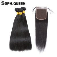 Soph Queen Hair Straight Wave Bundles With Closure Peruvian Remy Hair Extension Natural Black Pelo Human