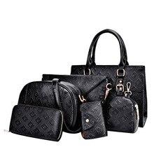 Фотография Luxury Diamond Lattice bag Lady Leather 6 Pcs Composite Bags Set Women Shoulder Crossbody Bags Handbag Purse Clutch