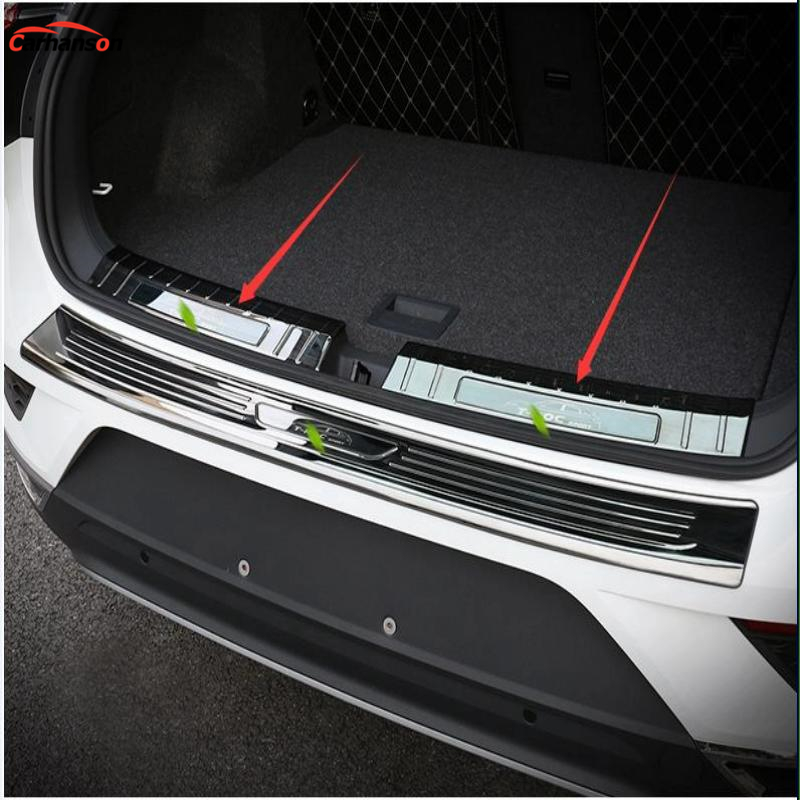 Car Styling Accessories for VW T-ROC t roc troc 2018 Stainless Steel Rear Bumper Foot Plate Protector Door Sill Scuff Sticker car styling accessories for 2015 2016 renault captur stainless steel rear bumper protector trunk guard door sill scuff plate