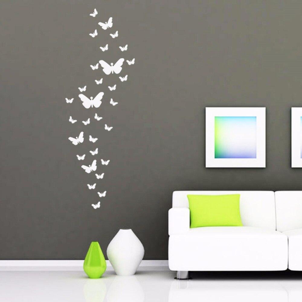 DIY 3D Silver Farfalla Acrilico Decorazione Adesivi Murali sulla ...
